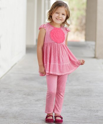 Pink Stripe Rosette Tunic & Leggings - Infant, Toddler & Girls