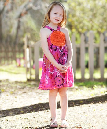 Fuchsia Paisley Blooming Rose Dress - Toddler & Girls