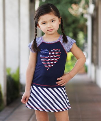 Navy Stripe Heart Flag Dress - Toddler & Girls