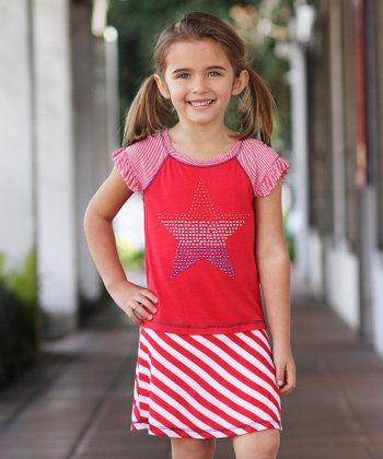 Red Stripe Star Dress - Toddler & Girls