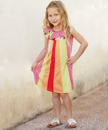 Red & Green Stripe Ruffle Dress - Toddler & Girls