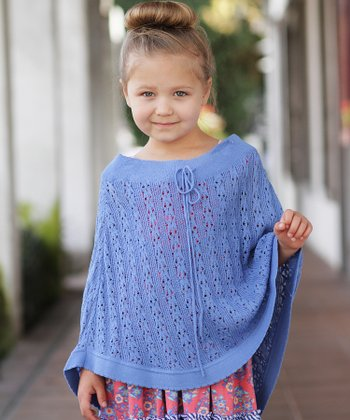 Blue Knit Poncho - Toddler
