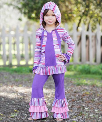 Purple Stripe Ruffle Tunic & Leggings - Toddler & Girls