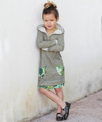 Olive Floral Pocket Hoodie Dress - Toddler & Girls