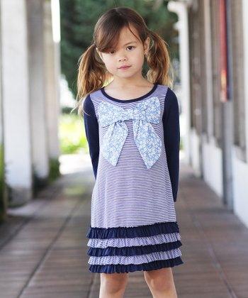 Navy Stripe Floral Bow Ruffle Dress - Toddler & Girls