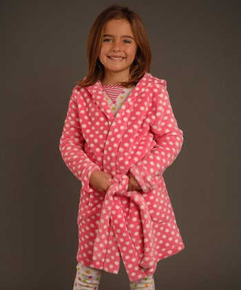 Pink & White Polka Dot Robe - Toddler & Girls
