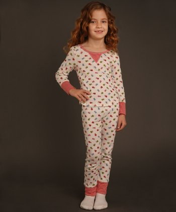 Ivory & Red Ladybug Top & Pants - Toddler & Girls