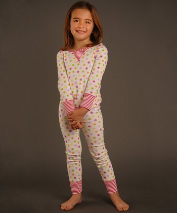 Ivory & Pink Circle Top & Pants - Toddler & Girls