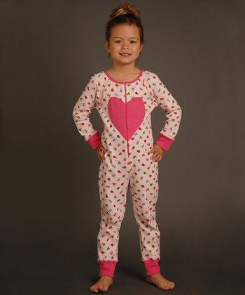 Pink Heart Ladybug Playsuit - Toddler & Girls