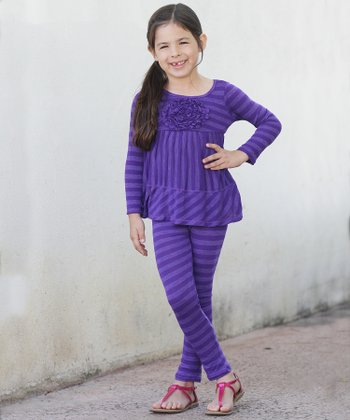 Purple Stripe Rosette Tunic & Leggings - Toddler & Girls