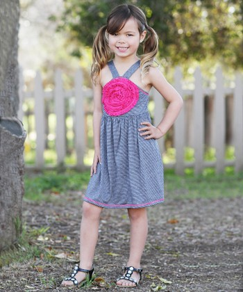 Black & Gray Stripe Blooming Rose Dress - Toddler & Girls