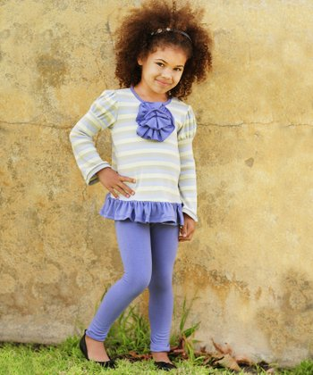 Lavender Stripe Peony Tunic & Leggings - Toddler & Girls