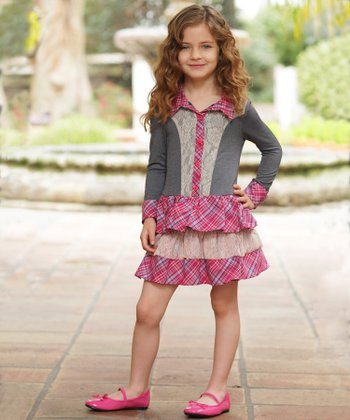 Pink Plaid Lace Ruffle Dress - Toddler & Girls