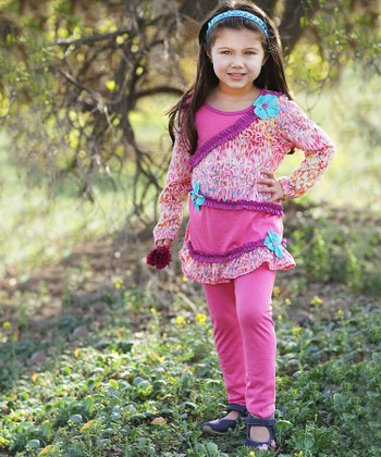 Pink & Blue Flower Ruffle Tunic & Leggings - Toddler & Girls