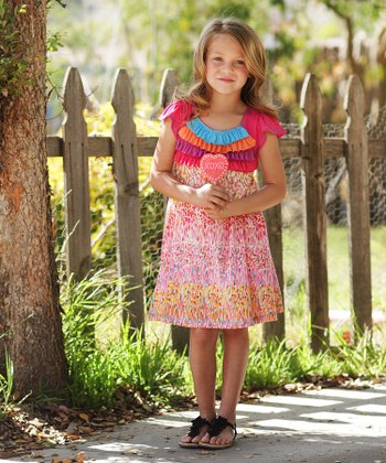 Fuchsia Rainbow Ruffle Dress - Toddler & Girls