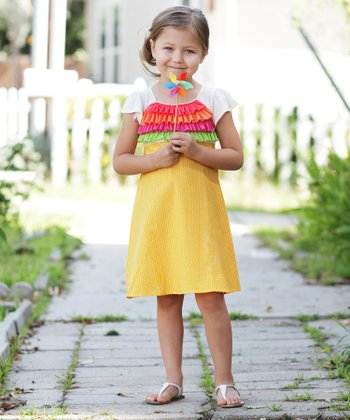 Yellow Rainbow Ruffle Dress - Toddler