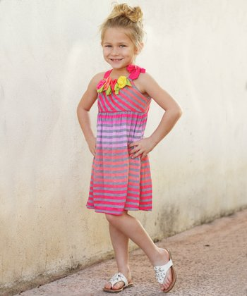 Fuchsia Stripe & Rosette Dress - Girls