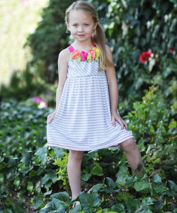 Heather Gray Stripe & Rosette Dress - Girls
