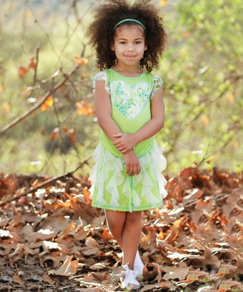 Lime Heart Ruffle Tie Tee & Skirt - Toddler & Girls