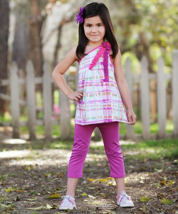 Purple Plaid & Ruffle Tunic & Pants - Girls