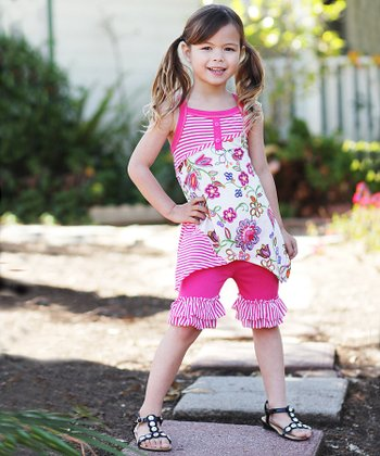 Fuchsia Floral Patchwork Ruffle Tunic & Pants - Toddler & Girls