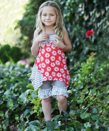 Red Daisy Patchwork Ruffle Tunic & Pants - Toddler & Girls