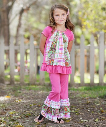 Pink Floral Patchwork Ruffle Tunic & Pants - Toddler & Girls
