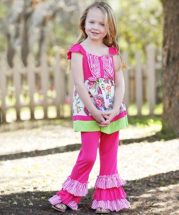 Fuchsia Stripe Patchwork Ruffle Tunic & Pants - Toddler & Girls