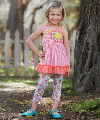 Coral Floral Ruffle Tunic & Pants - Girls
