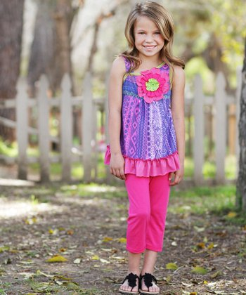Blue Floral Ruffle Tunic & Pants - Girls
