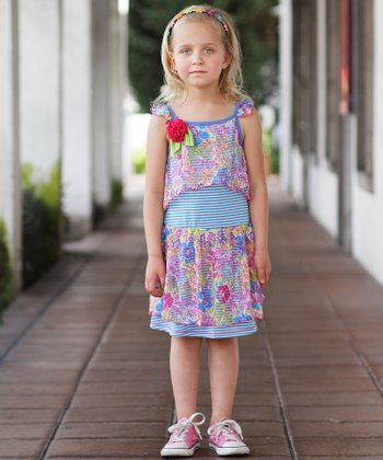 Turquoise Stripe & Floral Angel-Sleeve Dress - Toddler & Girls