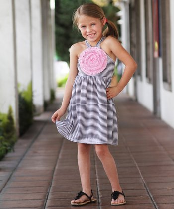Gray & Pink Stripe Flower Dress - Girls