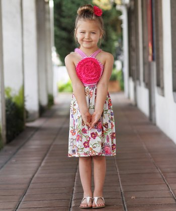 Fuchsia & White Stripe & Flower Dress - Toddler & Girls