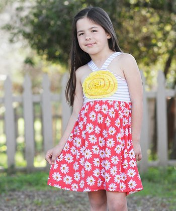 Red & White Stripe & Daisy Dress - Toddler & Girls