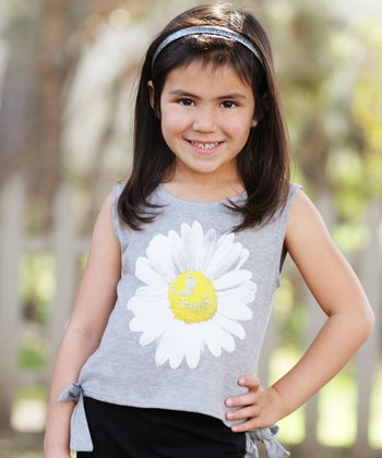 Heather Gray Daisy Side-Tie Top - Toddler & Girls