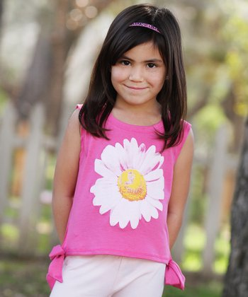 Pink Daisy Ruffle Side-Tie Top - Toddler & Girls