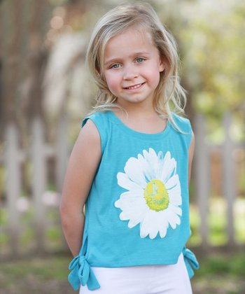 Turquoise Daisy Floral Side-Tie Top - Toddler & Girls