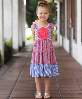 Blue & Coral Stripe & Flower Dress - Toddler & Girls