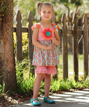 Coral Floral Ruffle Angel-Sleeve Tunic & Pants - Toddler & Girls
