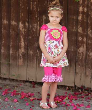 Fuchsia Floral Ruffle Tunic & Pants - Girls