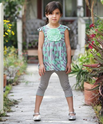 Lime Hearts in Bloom Tunic & Leggings - Toddler & Girls