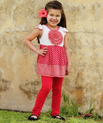 Red Hearts Angel-Sleeve Tunic & Leggings - Girls