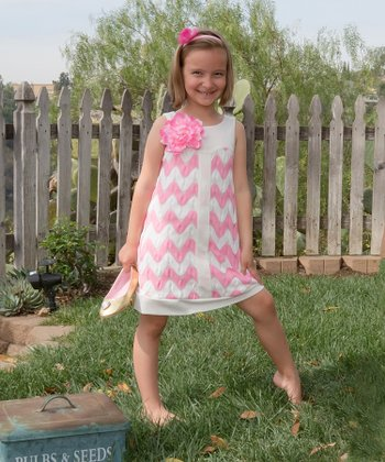 Pink Zigzag & Flower Dress - Toddler & Girls