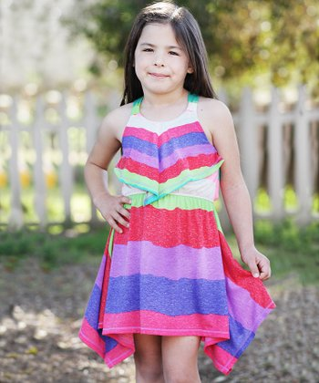 Purple Rainbow Stripe Linen-Blend Handkerchief Dress - Girls