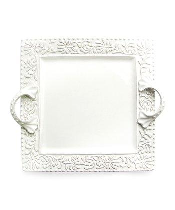 Bianca Leaf Square Handled Platter