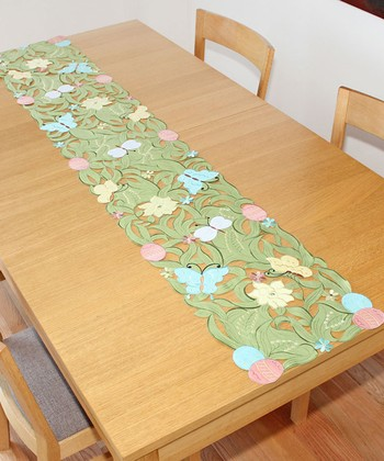 Embroidered Butterfly Cutout Table Runner