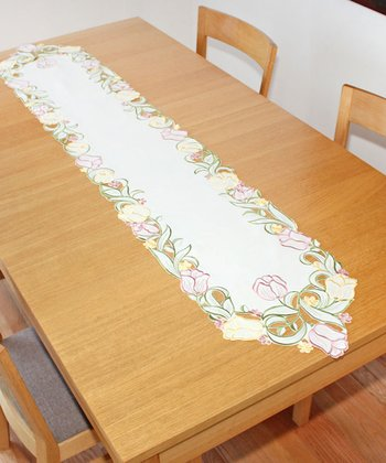 Embroidered Tulip Cutout Table Runner