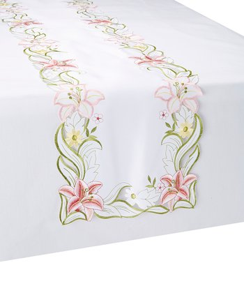 Embroidered Lily Cutout Table Runner
