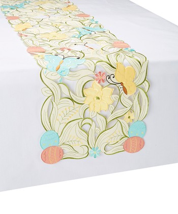 Pastel Embroidered Easter Egg Cutout Table Runner