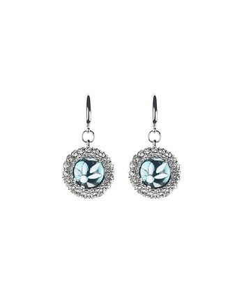 Silver & Blue Crystal Cluster Earrings